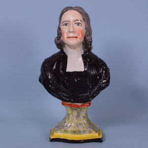 Early Staffordshire Pottery Bust of the Reverend John Wesley.