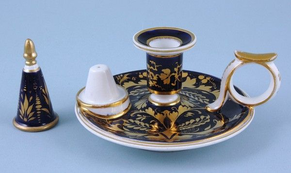 Derby Porcelain Chamberstick with Original Snuffer.