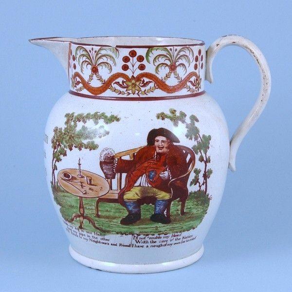 Staffordshire Pearlware Jug - Toby Phillpot