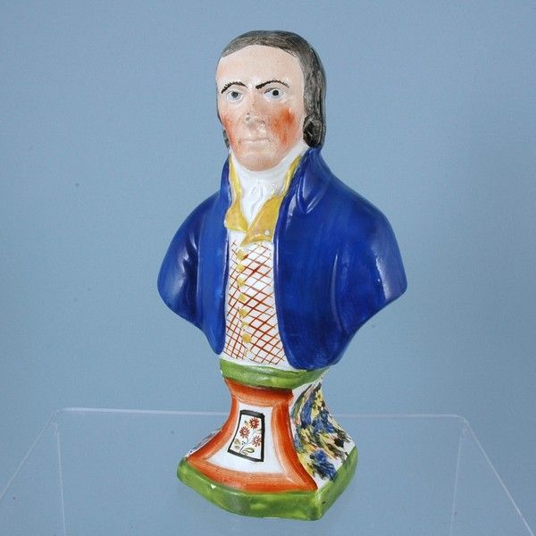 Staffordshire Pearlware Bust of a Gentleman.