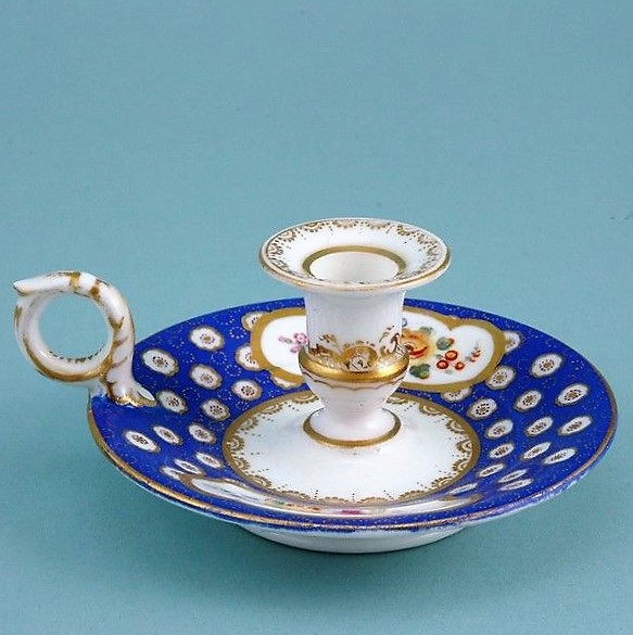 Sevres style English Porcelain Miniature Chamberstick.