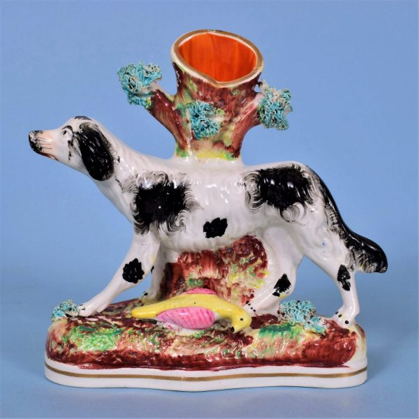 Staffordshire Spill Holder, Spaniel with Bird