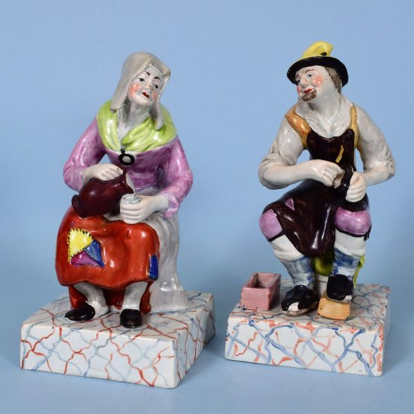 Pair of Staffordshire Pottery Figures of Jobson & Nell