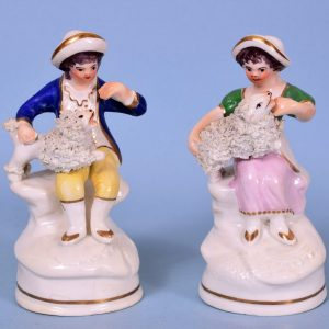 Pair of Staffordshire Porcelain Miniature Figures