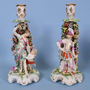 Pair of Derby Venus & Mars Candlestick Figures