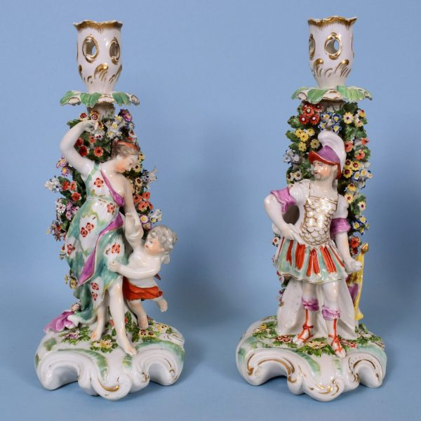 Pair of Derby Venus & Mars Candlestick Figures