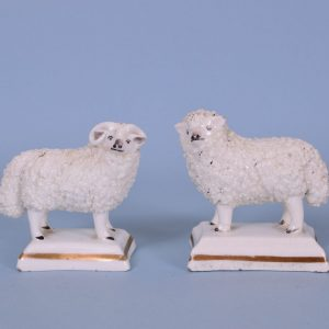 Pair of Staffordshire Porcelain Sheep