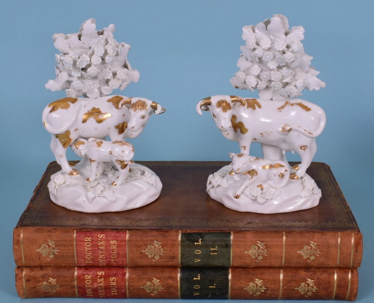 Pair of Derby Cow & Calf Figures, c1830