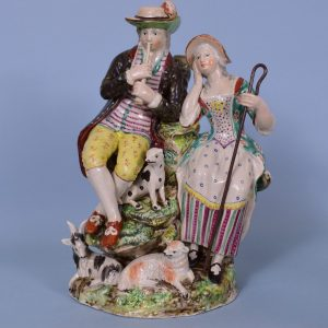 Staffordshire Pottery Large Group of Shepherd & Shepherdess