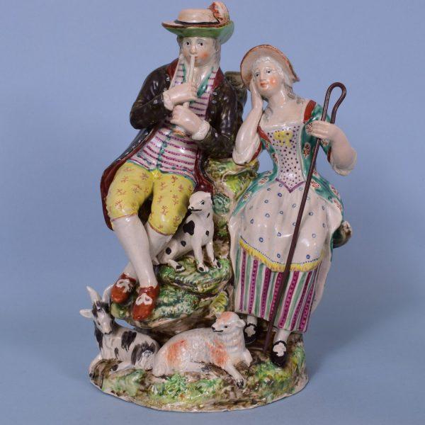 Staffordshire Pottery Large Group of Shepherd & Shepherdess