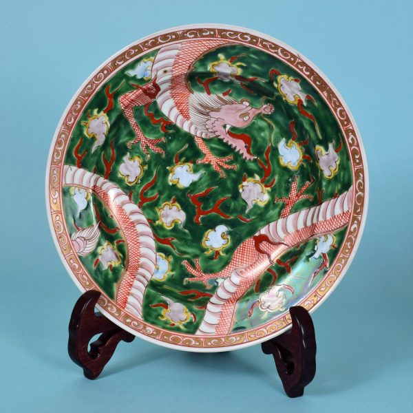 French Porcelain Plate With Chinese Dragons
