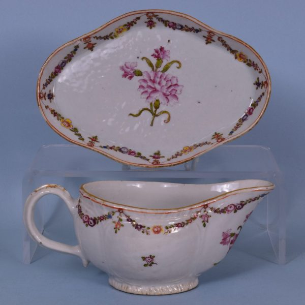 Chinese Export Porcelain Carnation Pattern Sauceboat & Stand
