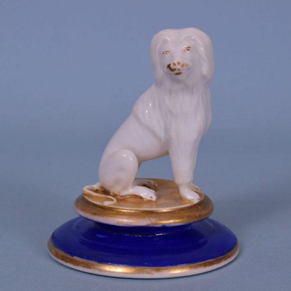 English Porcelain Model of a Dog on a Circular Base