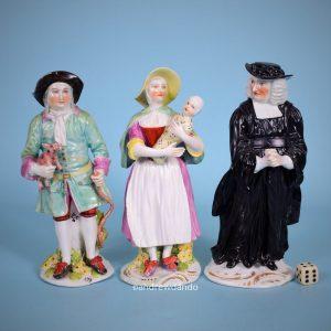 Derby Porcelain Tithe Pig Figures.