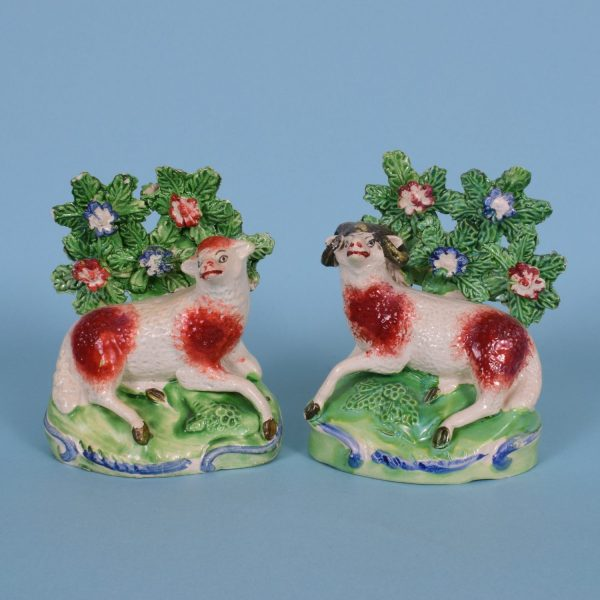 Pair of Staffordshire Sheep with Bocage.