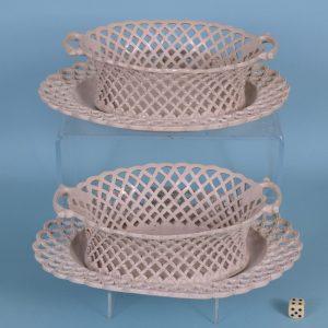 Pr Saltglaze Baskets & Stands