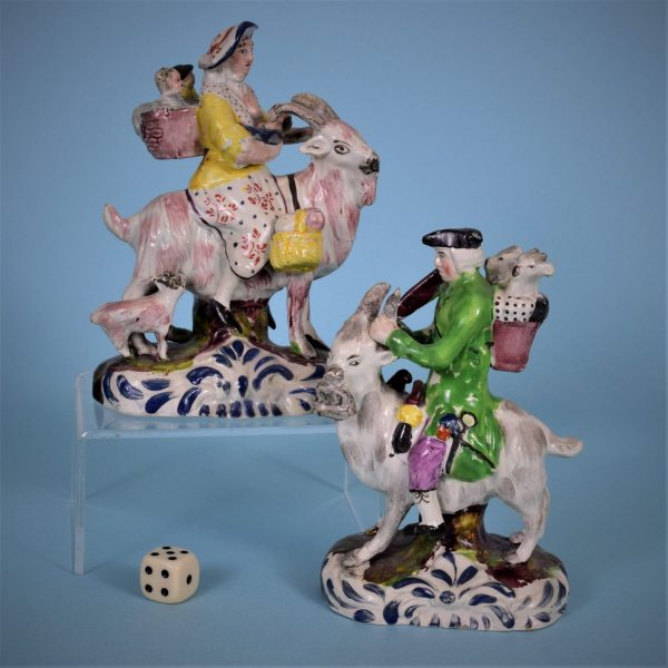 Pair of Staffordshire Tailors on Goats.