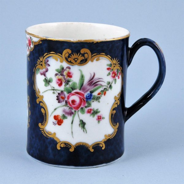 Worcester Porcelain Scale Blue Mug with Floral Panels