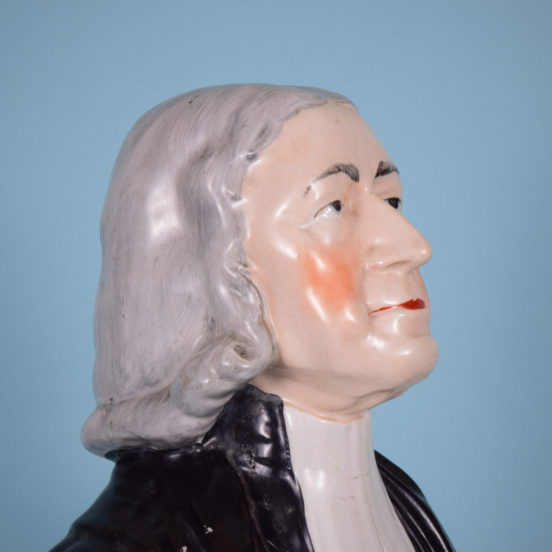 Victorian Staffordshire Large Bust of Rev John Wesley.