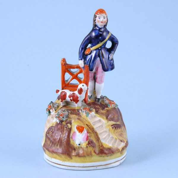 Victorian Staffordshire Figure of a Hunter With His Dog