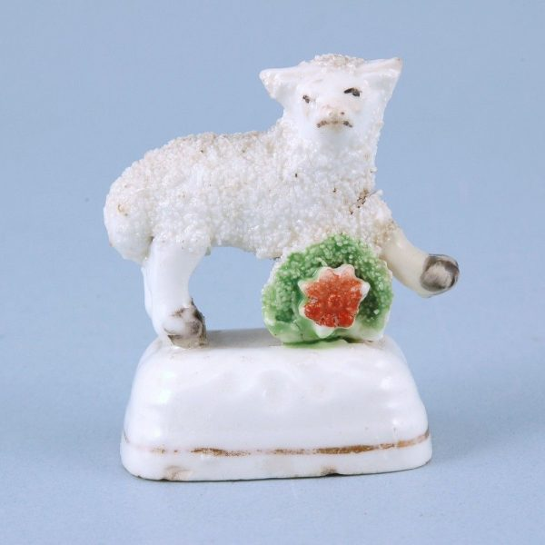 Staffordshire Porcelain Miniature Lamb with Basket