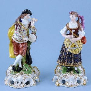 Pair of Derby Porcelain Musician Figures