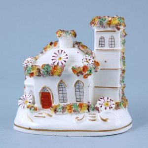 Staffordshire Porcelain Model of a House With Tower
