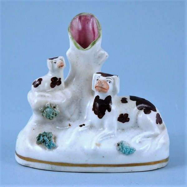 Staffordshire Dog & Puppy small Spill Vase