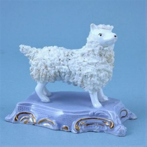 Unusual Staffordshire Porcelain Dog on a Lilac Base