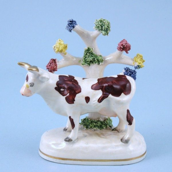 Staffordshire Porcelain Cow with Bocage