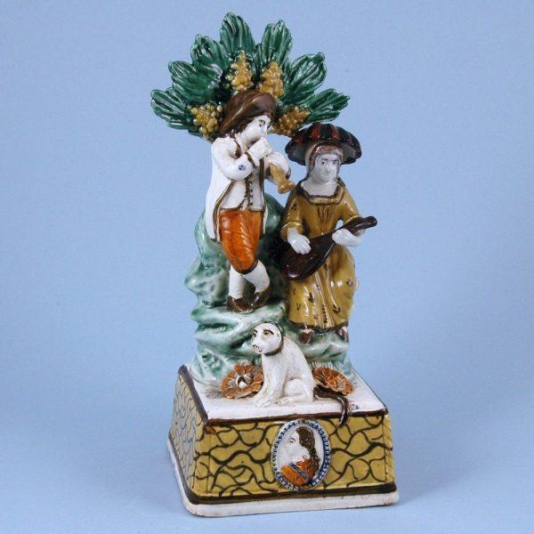 Pratt ware Group of Two Figures