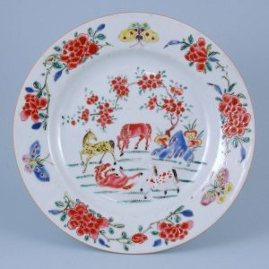Chinese Export Porcelain Famille Rose Plate with Horses