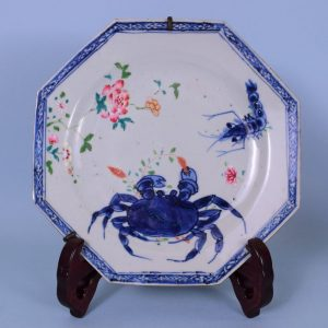 Chinese Export Porcelain Plate with Crab & Shrimp