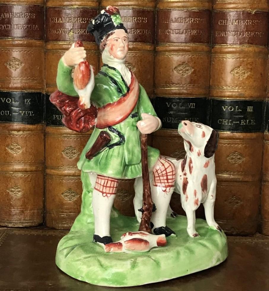 Staffordshire Pottery Figure of a Scottish Hunter.