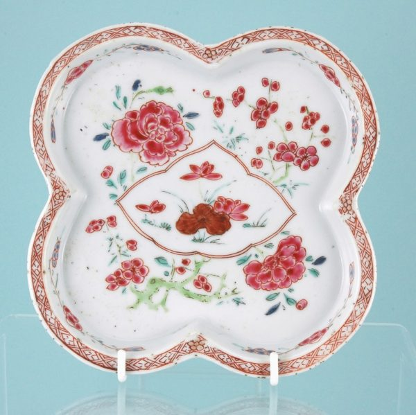 Unusual Famille Rose lobed dish