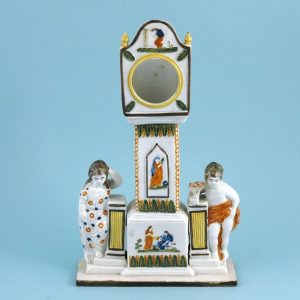 English Pottery Clock - Watch Stand, Pratt Colours