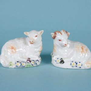 Pair of 18th Century Derby Porcelain Small Models of Sheep