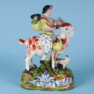 Staffordshire Pottery 'Welch Tailor's Wife Riding a Goat'