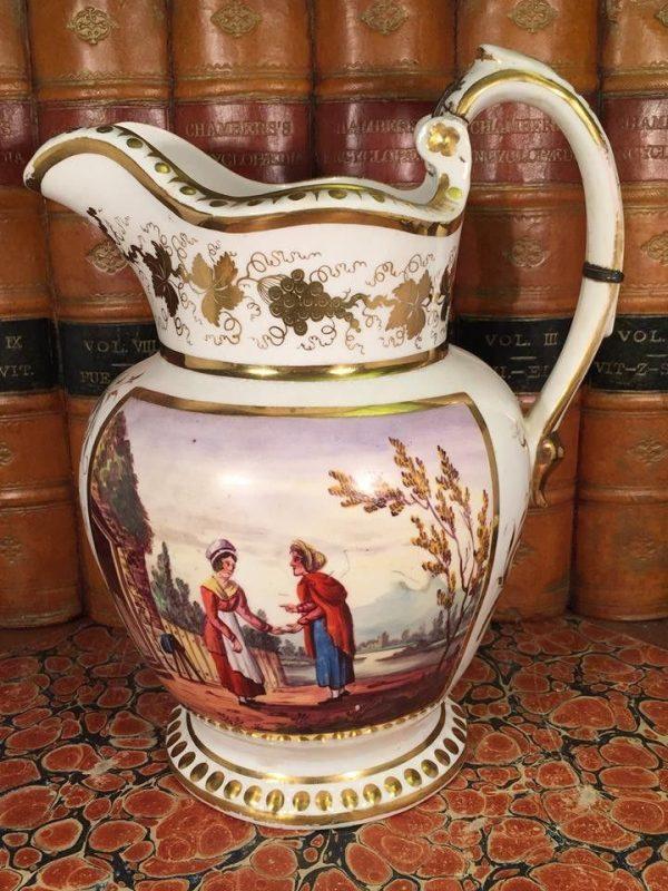 Staffordshire porcelain jug, 'Francis Hughes Esq'