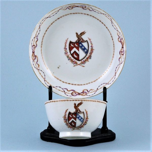 Chinese Export Porcelain Armorial Tea Bowl & Saucer