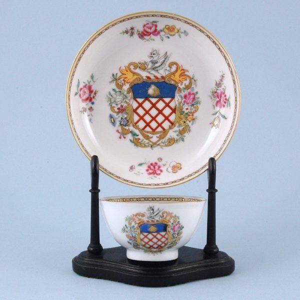 Chinese Export Porcelain Armorial Tea Bowl & Saucer