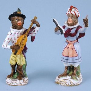 Pair of Staffordshire Porcelain Monkey Band Figures