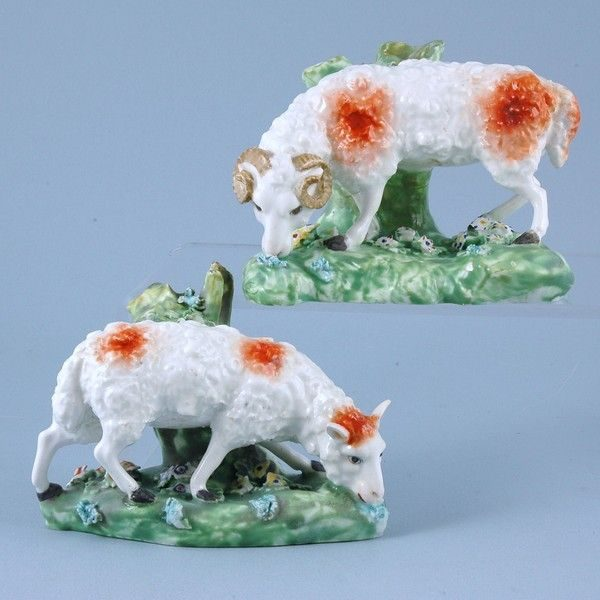 Pair of Derby Porcelain Sheep Grazing