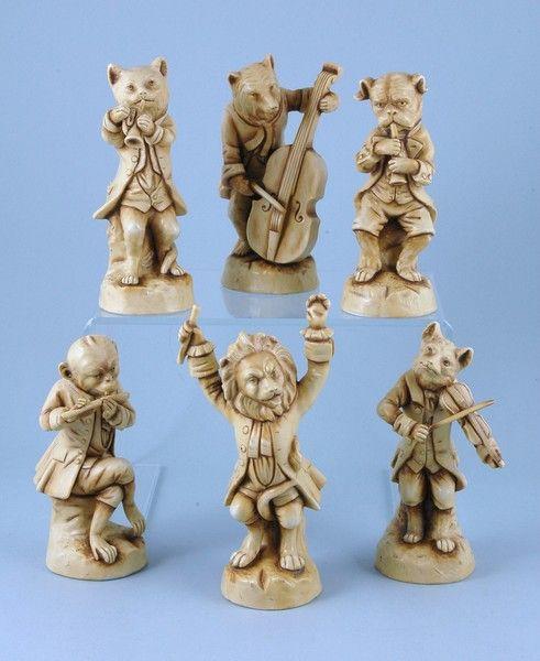 Unusual Set of 6 'Dresden' Animal Musician Figures