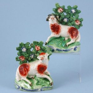 Pair of Staffordshire Pottery Models of Ram & Ewe
