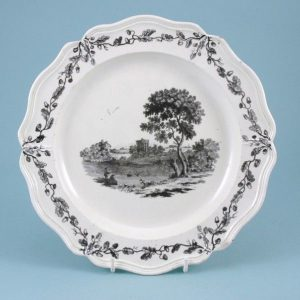 Wedgwood Creamware Plate with Transfer Printed Scene