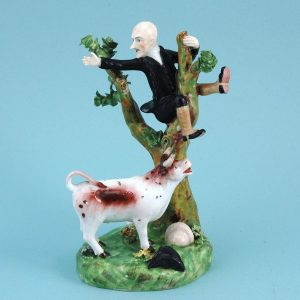 S&H Derby Porcelain Group of Dr Syntax Pursued by a Bull