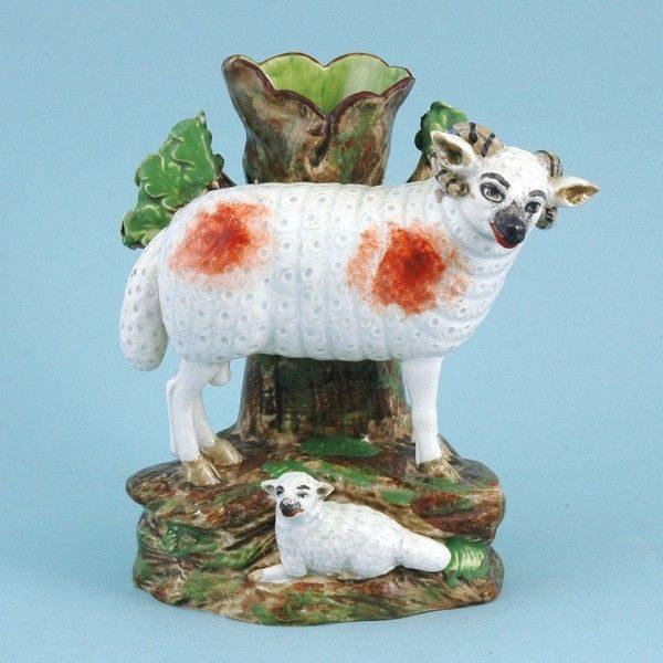 Staffordshire Pottery Ram & Lamb Spill Vase
