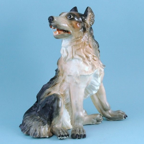Unusually Large Staffordshire Porcelain Model of a Dog