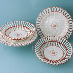 Pair of Wedgwood Creamware Circular Baskets & Stands